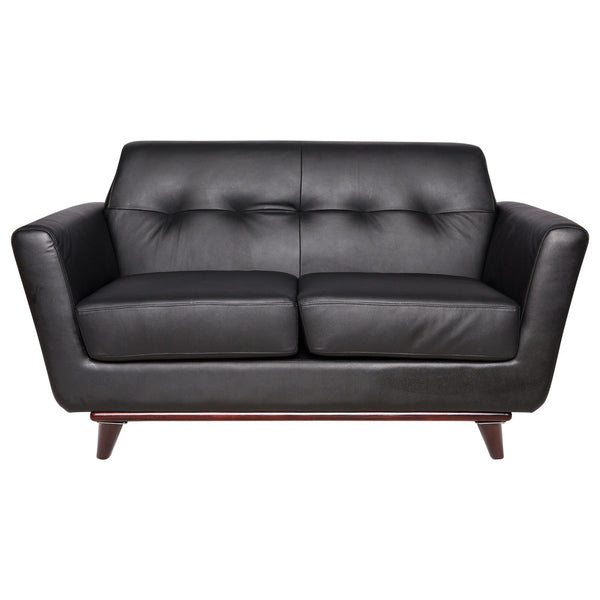 Luca Black Leather Loveseat - living-essentials