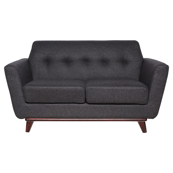 Luca Dark Grey Wool Loveseat - living-essentials