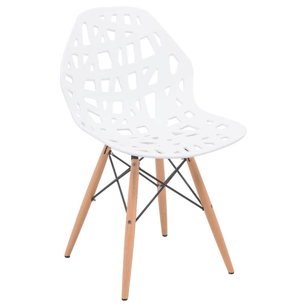 Akira White Dining Chair with Dowel Legs - living-essentials