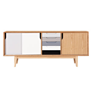 Zelda Grey Natural Sideboard Cabinet Free Shipping
