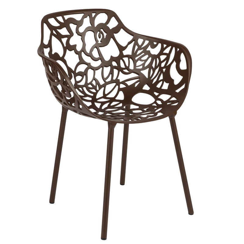 Desire Brown Aluminum Side Armchair - living-essentials