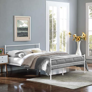 Alec Queen Platform Bed Frame White Frames Free Shipping