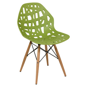 Akira Green Chair with Dowel Legs