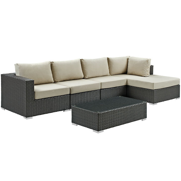 Mont Royal 6 Piece Outdoor Patio Sunbrella Sectional Set Sofas Free Shipping