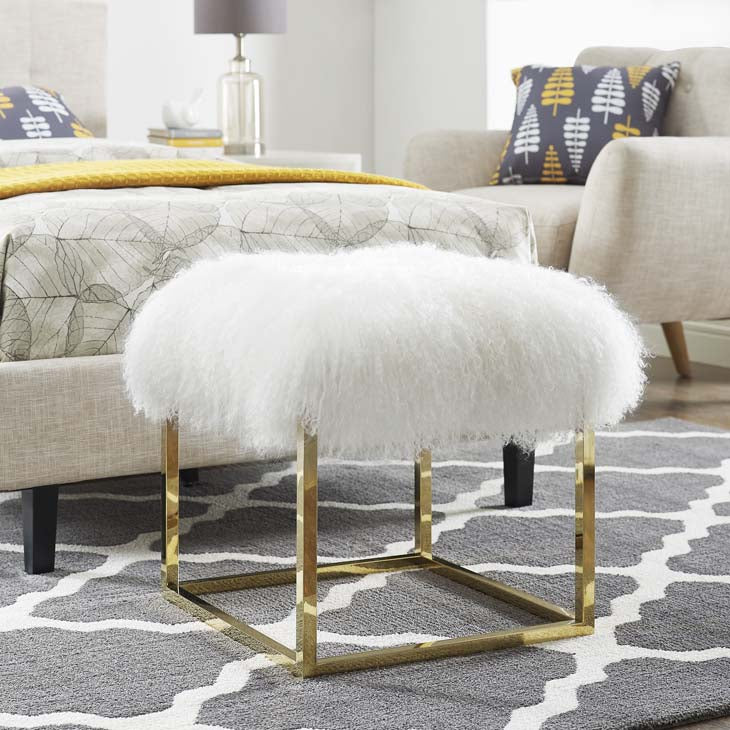 Gale Sheepskin Ottoman - living-essentials
