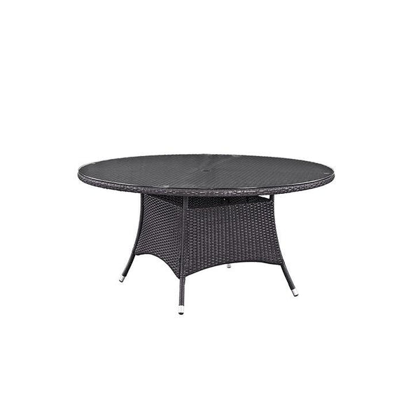 "Berkeley Espresso 59"" Round Patio Dining Table - living-essentials"
