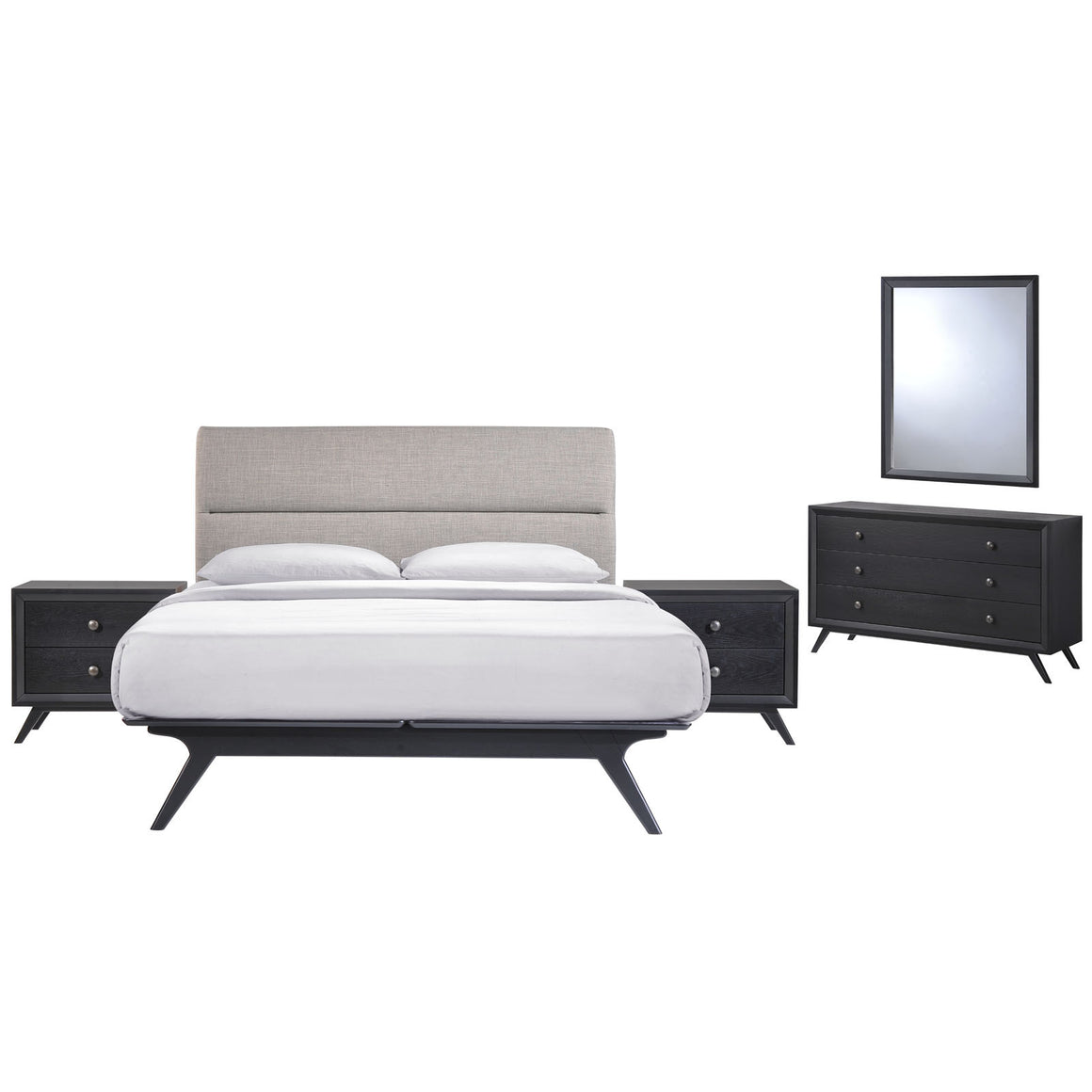 Barbara Mid Century 5 Piece Queen Bedroom Set Sets Free Shipping