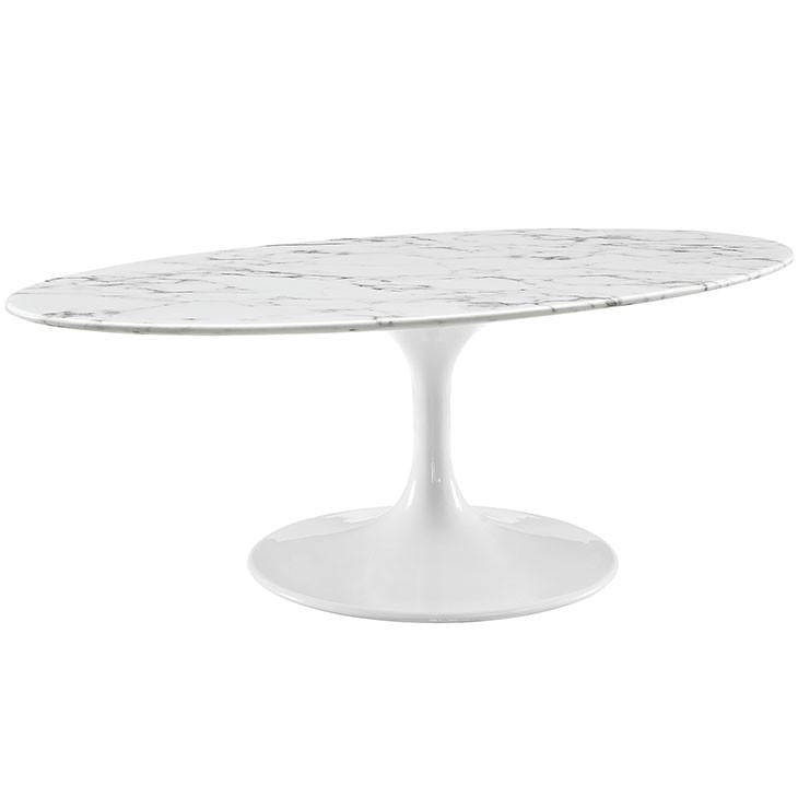 """Parker Oval Marble Coffee Table Reviews: Saarinen Style Tulip 48"""" Oval Marble Coffee Table"""