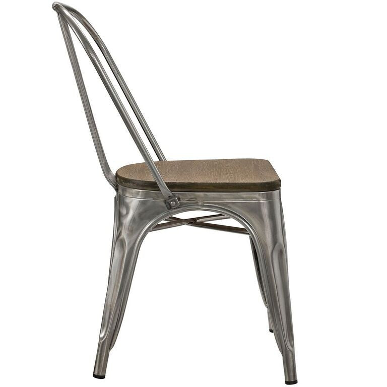 Tolix Style Bamboo Dining Side Chair - living-essentials