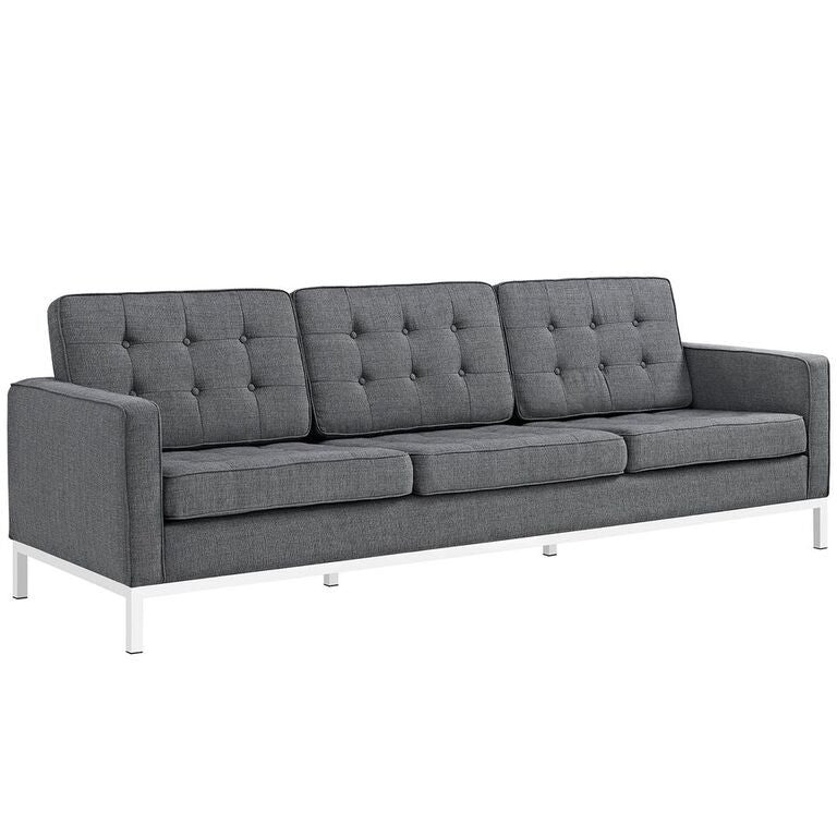 Florence Knoll Style Fabric Sofa Gray Free Shipping