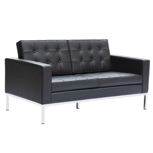 Florence Knoll Style Leather Loveseat Black Loveseats Free Shipping