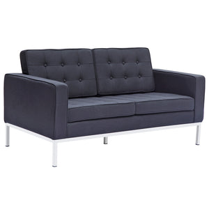 Florence Knoll Style Wool Loveseat Black Loveseats Free Shipping