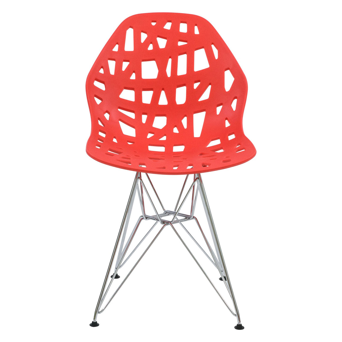 Akira Red Dining Chair with Chrome Legs