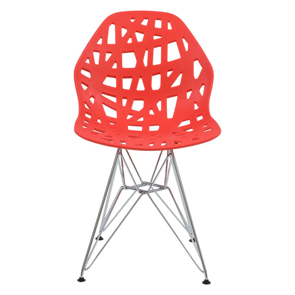 Akira Red Dining Chair with Chrome Legs - living-essentials