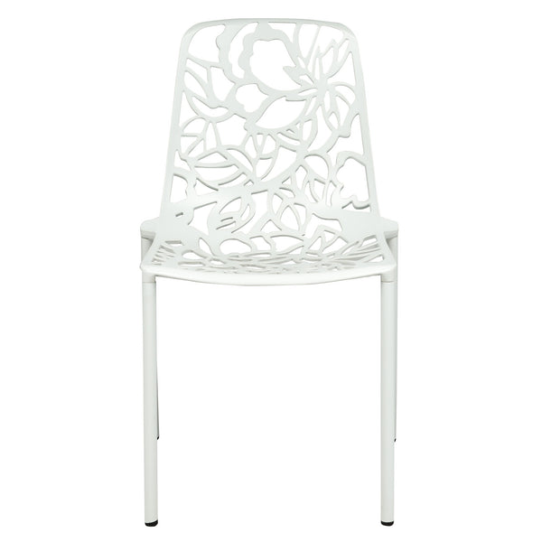 Desire White Aluminum Side Chair - living-essentials