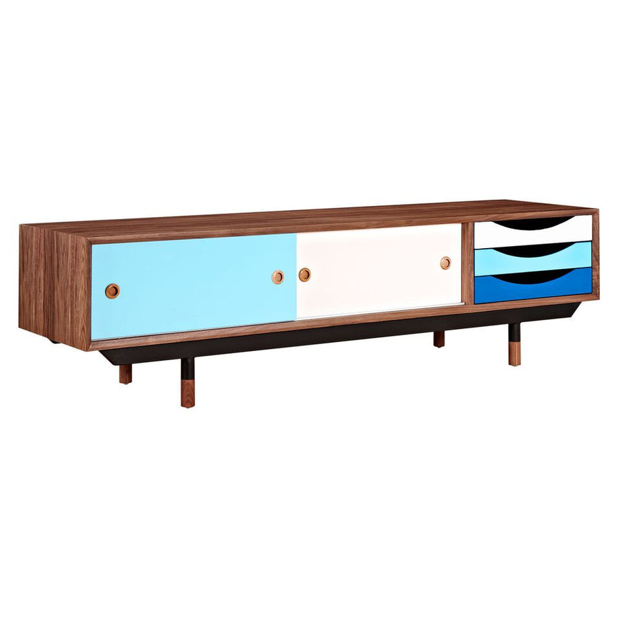 Finn Juhl Style 71 Media Unit Blue Cabinet Free Shipping