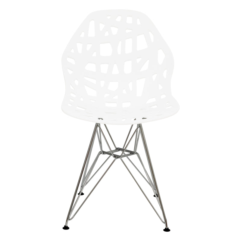 Akira White Dining Chair with Chrome Legs - living-essentials