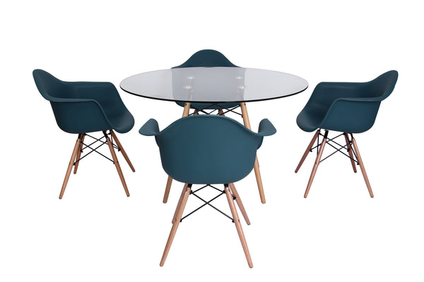 Eiffel Round Glass Top Dining Table - living-essentials