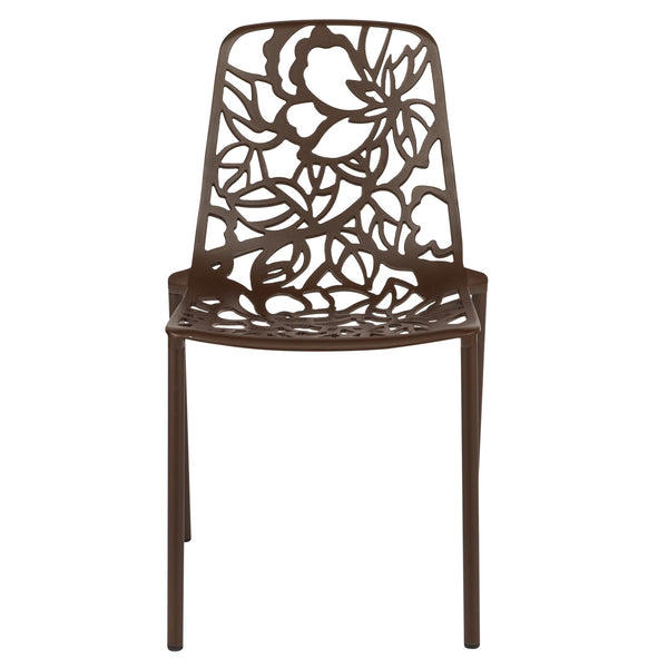 Desire Brown Aluminum Side Chair - living-essentials