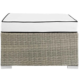 Rennie Outdoor Patio Upholstered Fabric Ottoman Light Gray White Ottomans Free Shipping