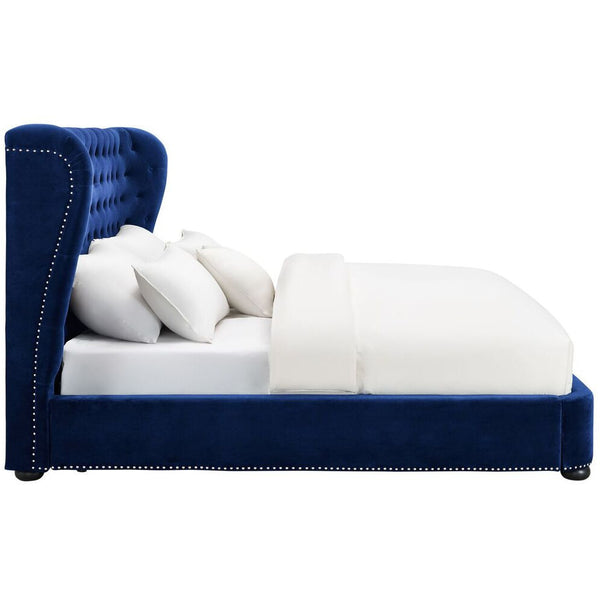 Philly Queen Navy Blue Velvet Bed Frame Emfurn
