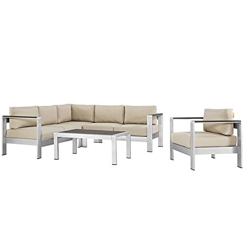 Skyline 5 Piece Outdoor Patio Aluminum Sectional Sofa Set - living-essentials