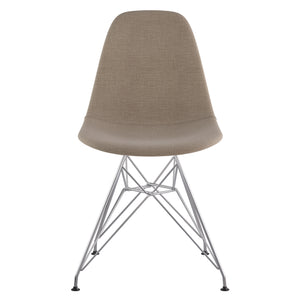 Emfurn Dsr Style Leather Dining Side Chair Light Sand / Brushed Nickel Finish Chairs Free Shipping