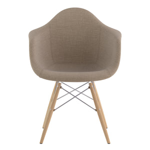 Emfurn Daw Style Fabric Dining Armchair Light Sand / Natural Wood Legs Chairs Free Shipping