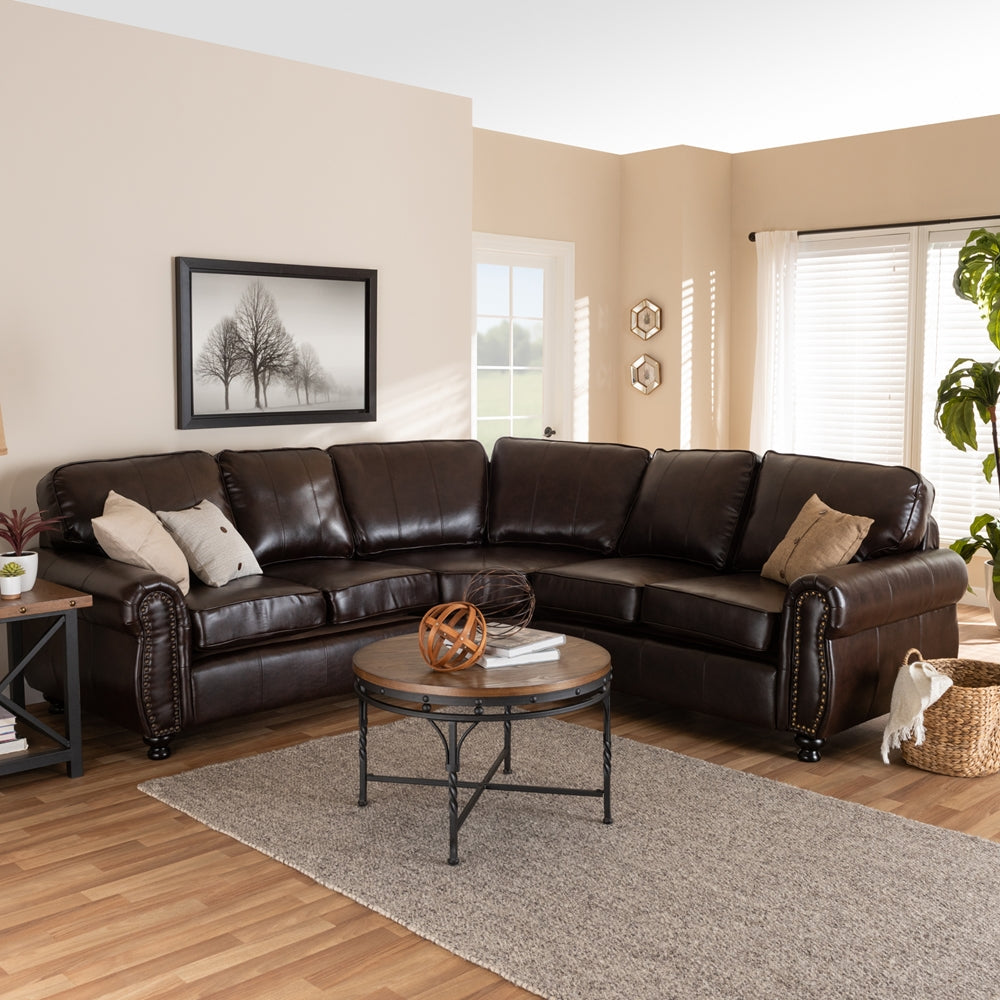 Hamilton Dark Brown Faux Leather Sectional Sofa Emfurn