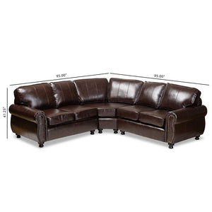 Hamilton Dark Brown Faux Leather Sectional Sofa