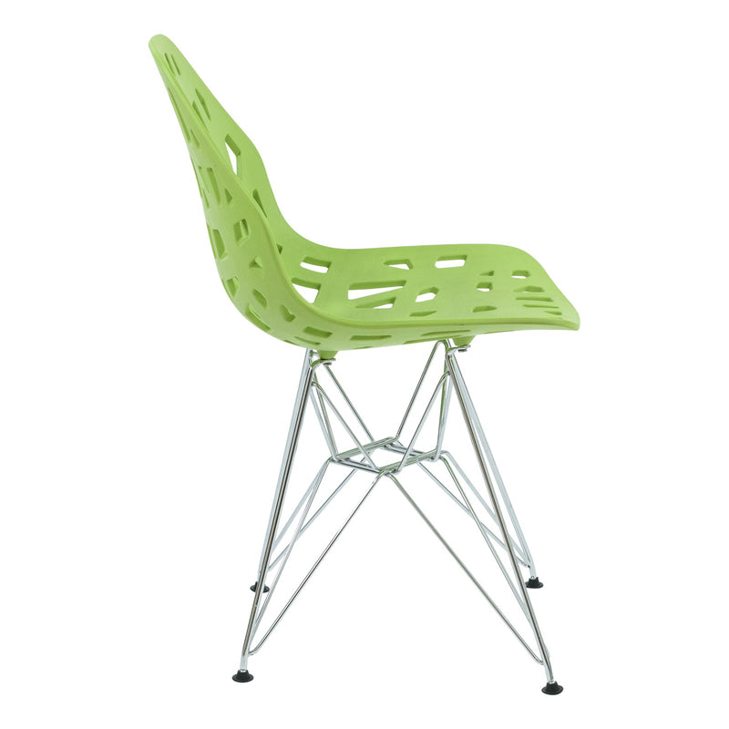 Akira Green Dining Chair with Chrome Legs - living-essentials