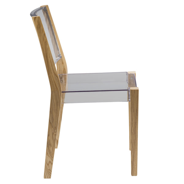 Bastian Clear Wooden Frame Dining Chair - living-essentials