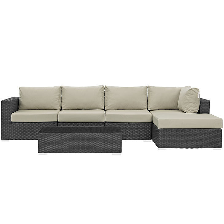 Mont Royal 6 Piece Outdoor Patio Sunbrella Sectional Set - living-essentials