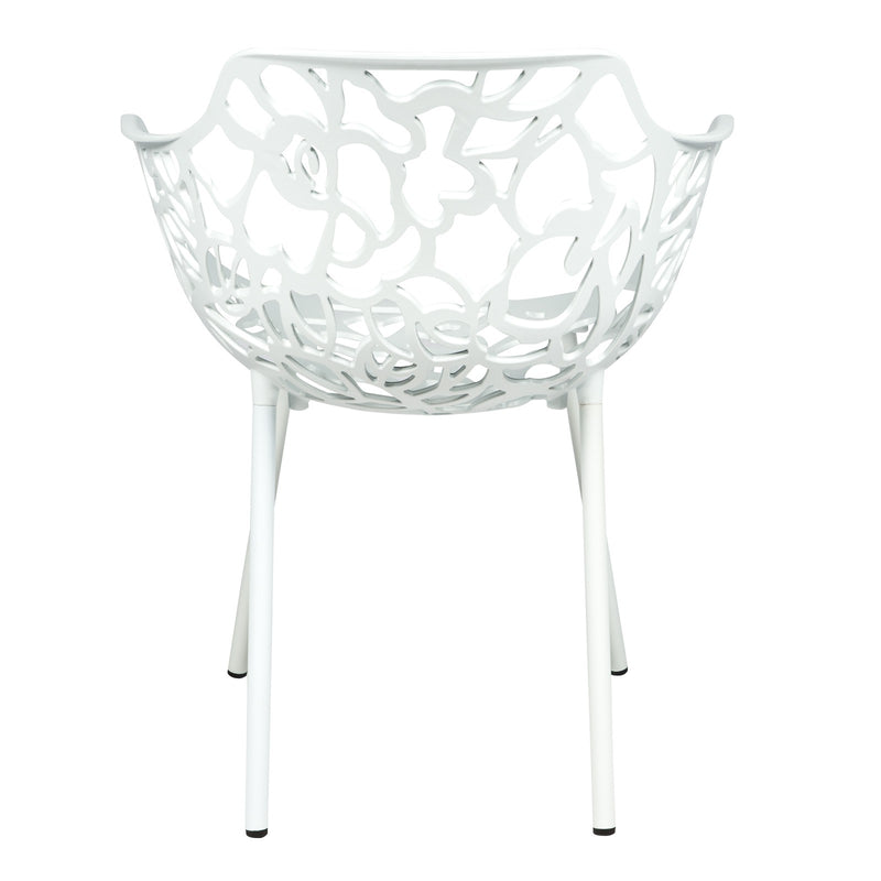 Desire White Aluminum Side Armchair - living-essentials