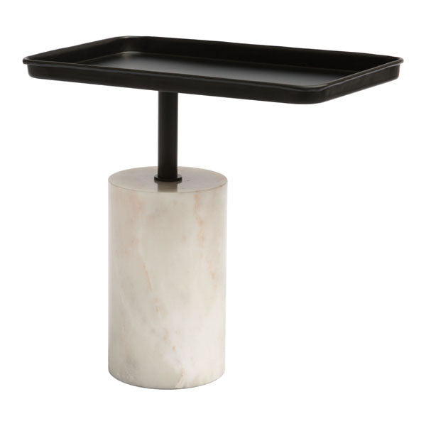 Damon Black & White Accent Side Table - living-essentials