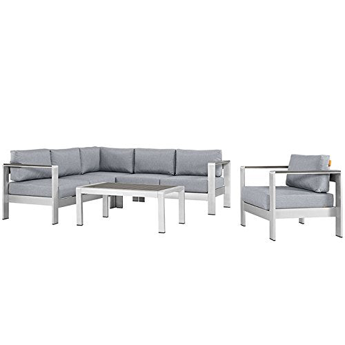 Skyline 5 Piece Outdoor Patio Aluminum Sectional Sofa Set
