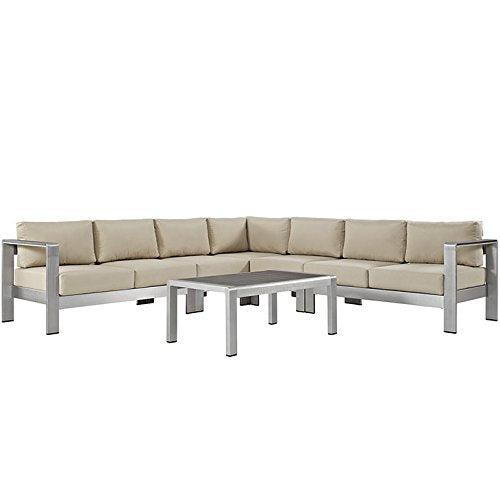 Seline 6 Piece Outdoor Patio Aluminum Sectional Sofa Set - living-essentials