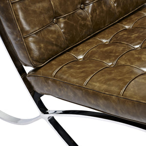 Barcelona Style Chair And Ottoman - Vintage Aged Leather Cognac Chairs Free Shipping