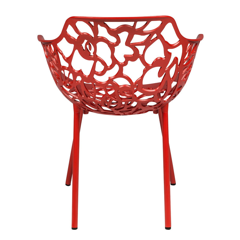 Desire Red Aluminum Side Armchair - living-essentials