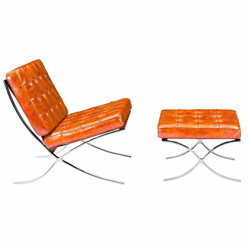 Barcelona Style Chair & Ottoman - living-essentials