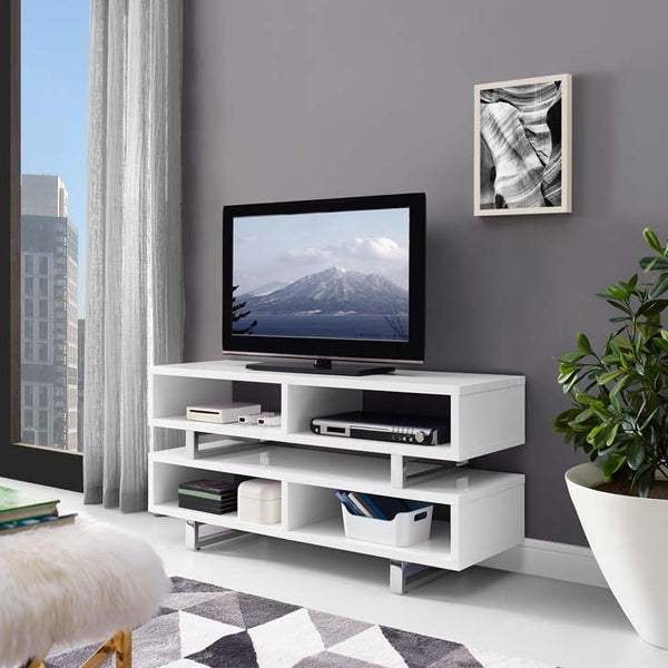 "Amy 47"" White TV Stand - living-essentials"
