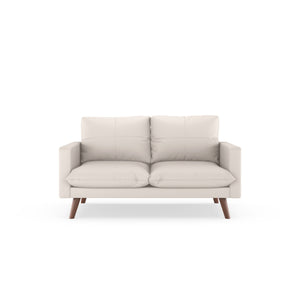 Everett Sofette Vegan Leather Ivory / Walnut Sofas Free Shipping