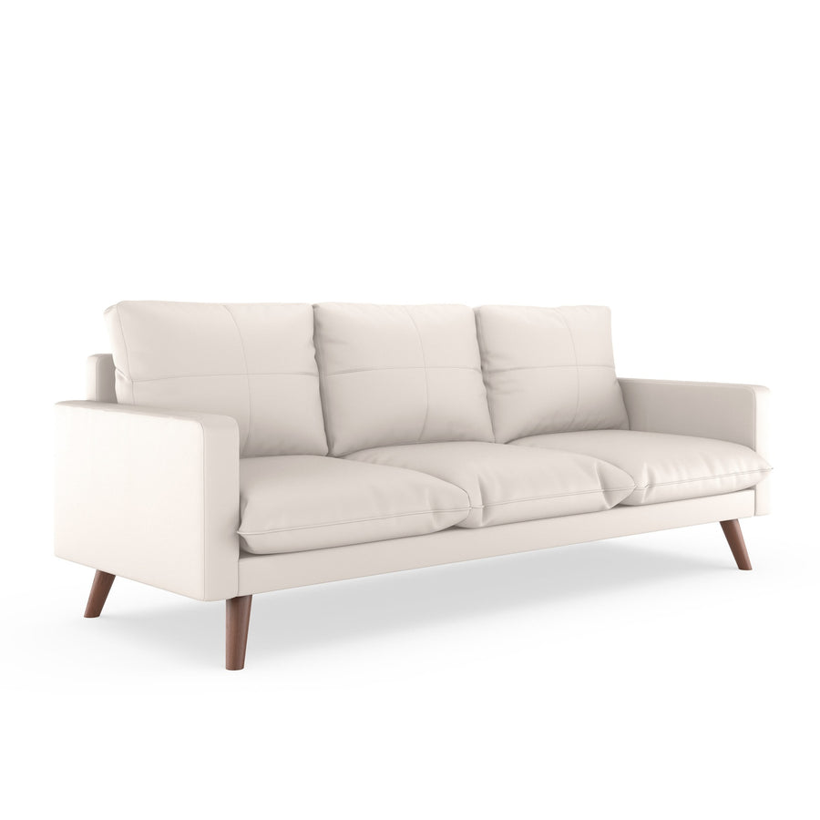 Everett Sofa Vegan Leather Ivory / Walnut Sofas Free Shipping