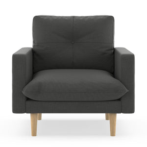 Ashby Armchair Oxford Weave Light Steel / Black Sofas Free Shipping