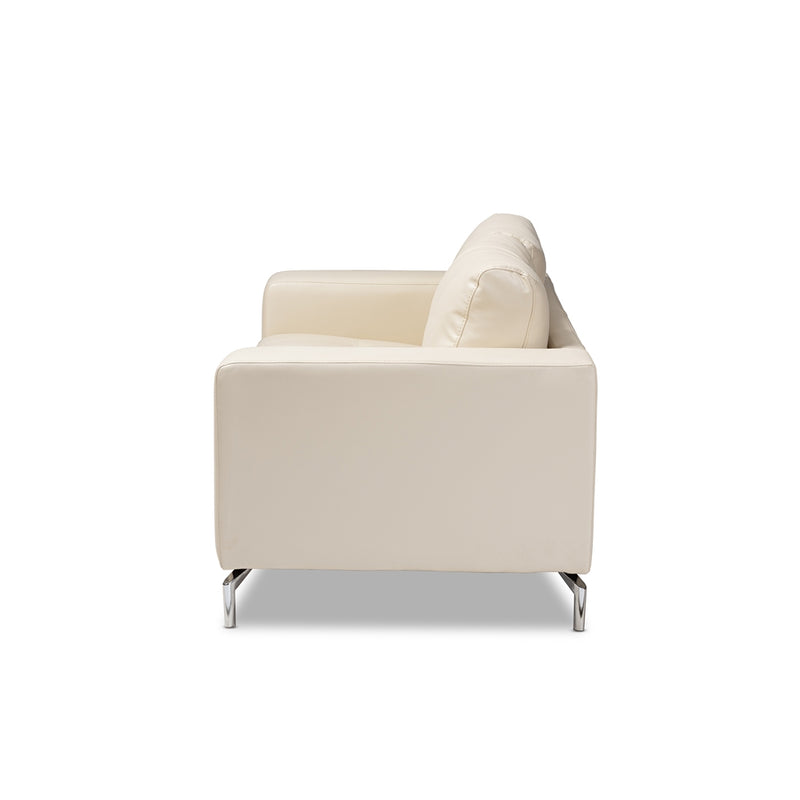Edison White Faux Leather Upholstered Loveseat - living-essentials