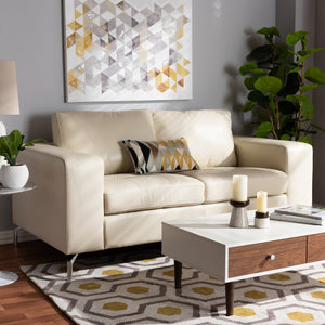 Edison White Faux Leather Upholstered Loveseat