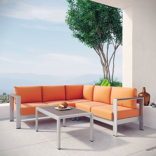 Serenity 4 Piece Outdoor Patio Aluminum Sectional Sofa Set - living-essentials