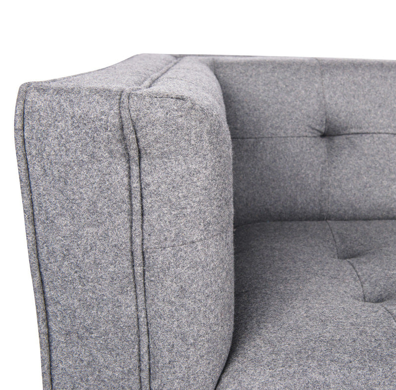 Sonora Light Grey Wool Tufted Sofa - living-essentials