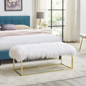 Gale White Sheepskin Bench Free Shipping