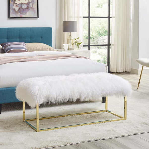 Gale White Sheepskin Bench - living-essentials